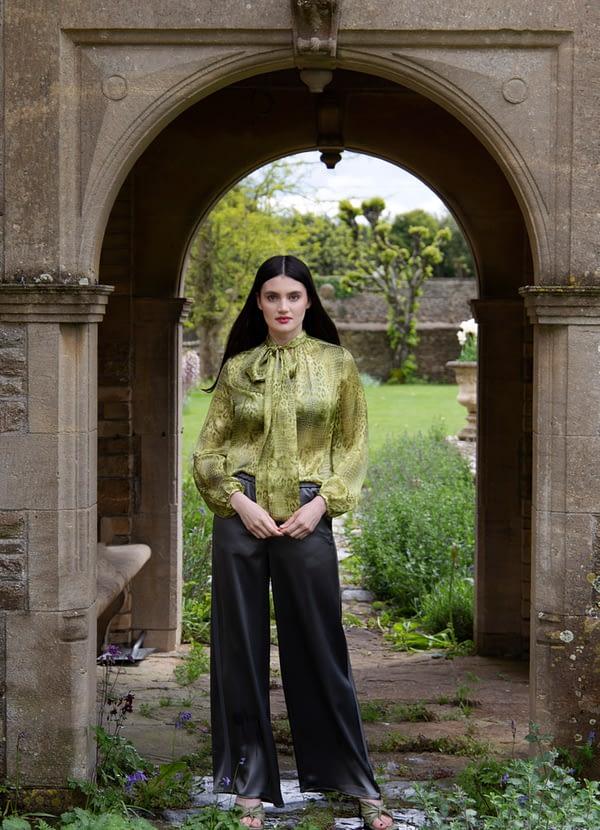 Pure Italian Silk Animal Print Blouse by Sarah Badeni